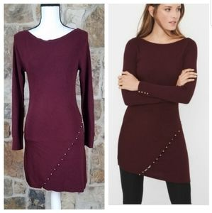 WHBM XS Button Detailed Sweater Tunic Dress
